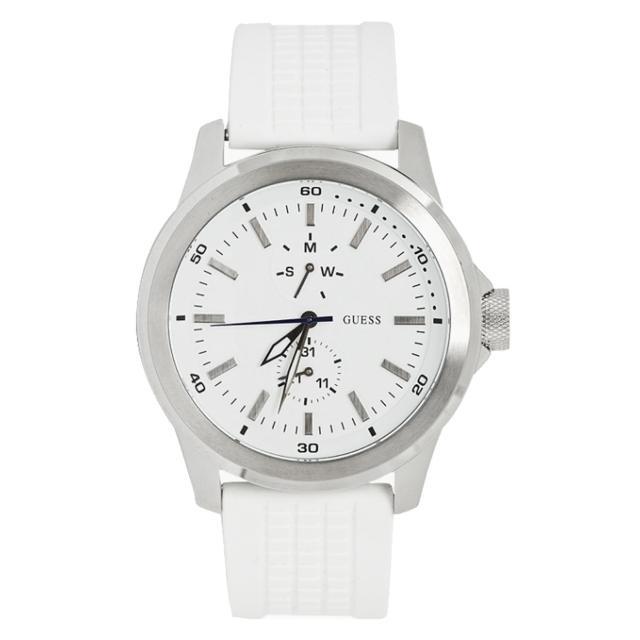 【GUESS】高雅簡約時尚腕錶-銀白(GWW11181G1)