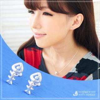 【維克維娜】品味童趣。俏皮魚骨造型貼耳耳環。925純銀耳環