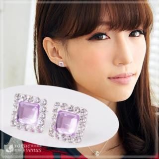 【維克維娜】嬌貴公主。亮眼方鑽鑲透紫鑽極美耳環。925純銀耳環