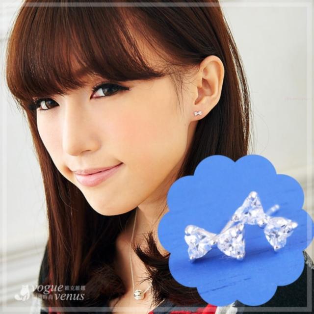 【維克維娜】輕甜女孩。水鑽小蝴蝶結必備款造型耳環。925純銀耳環