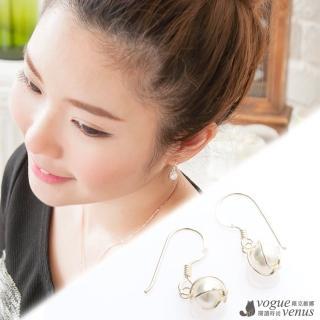 【維克維娜】優雅韓風。手作銀圈包珍珠氣質款耳環