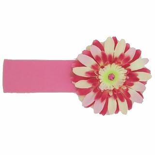 【美國Jamie Rae】女童/女生100%純棉髮帶 糖果粉寬髮帶+粉覆盆子雛菊(JRHBD03)