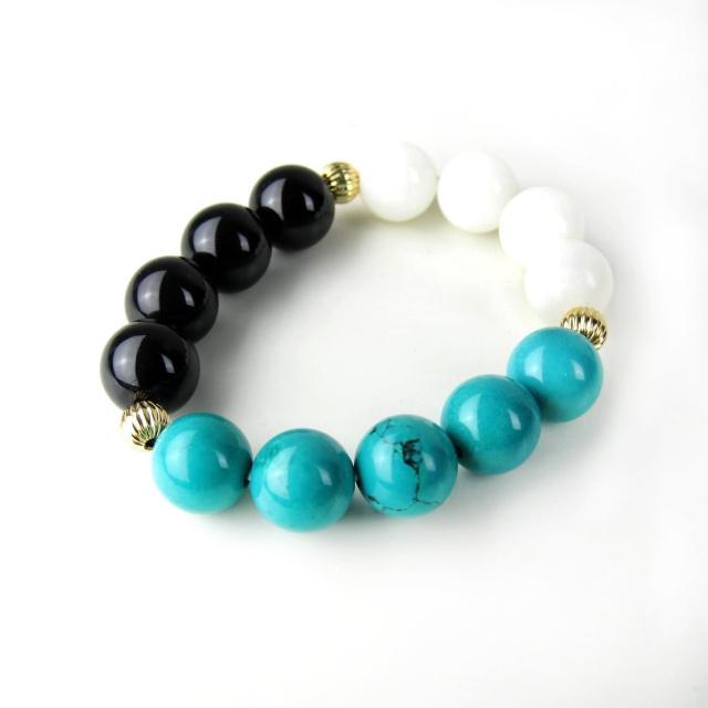 【ZenKi原氣晶品】12mm三色天然石異國風串珠手環(黑綠白)