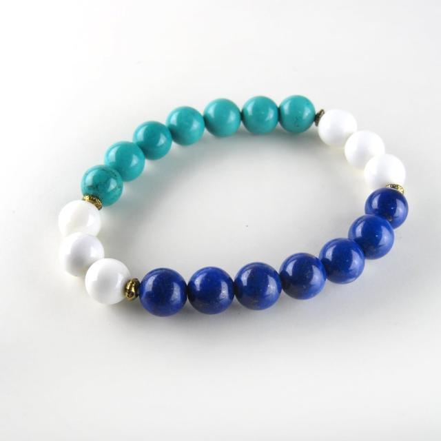【ZenKi原氣晶品】8mm三色天然石串珠對稱手環(藍綠白)