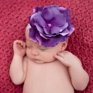 【美國Jamie Rae】女寶寶/女童100%純棉細髮帶 薰衣草紫細髮帶+薰衣草紫玫瑰(JRFBR02)