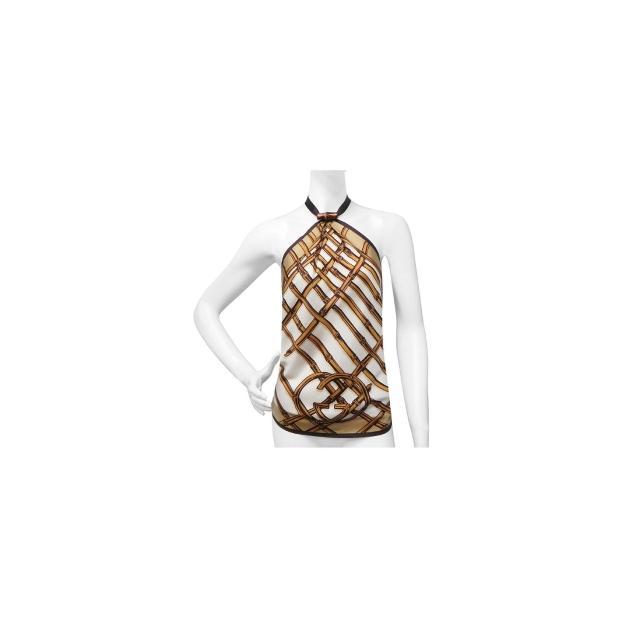 【GUCCI】竹節圖樣綁帶純絲上衣(咖啡色)
