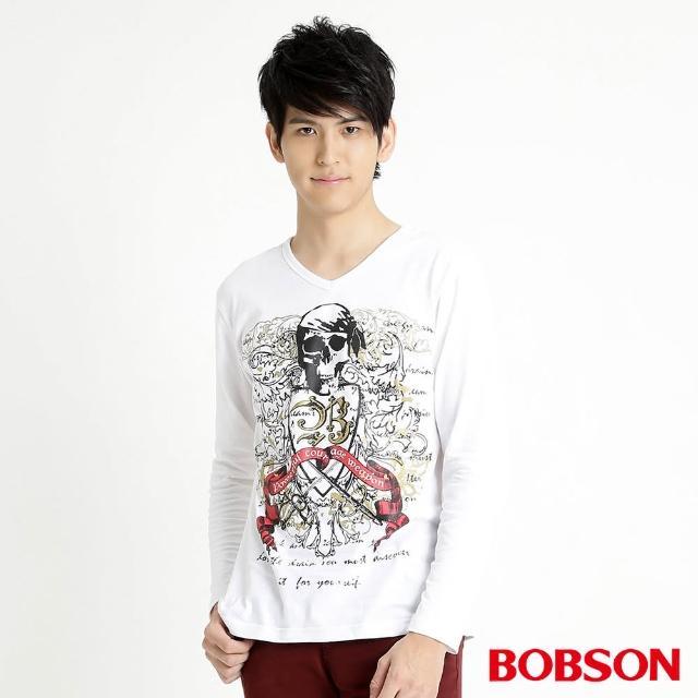【BOBSON】男款骷髏印圖長袖上衣(白32018-80)