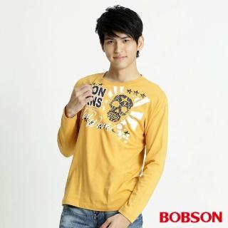 【BOBSON】男款髏骷印圖長袖上衣(黃32026-30)