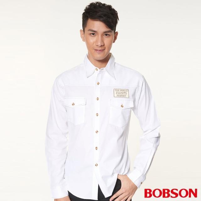 【BOBSON】男款腰線素面長袖襯衫(白34005-80)評鑑