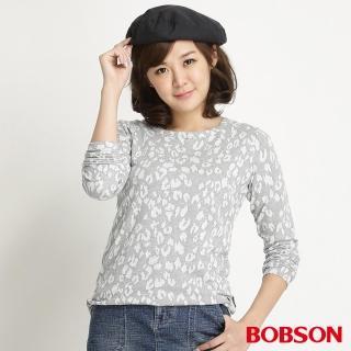 【BOBSON】女款豹紋長袖上衣(麻花34076-82)