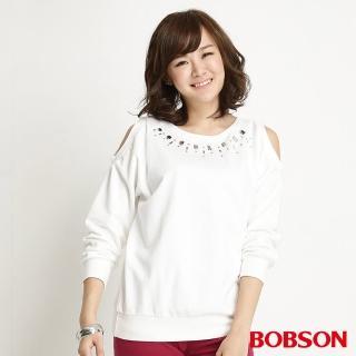 【BOBSON】女款鑽飾裸肩長袖上衣(米白34078-81)