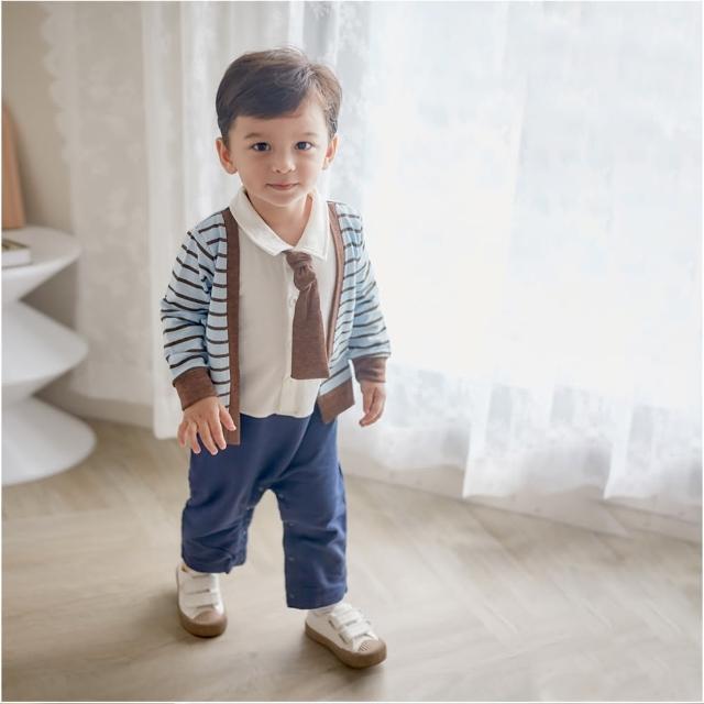 【baby童衣】連身衣 假兩件條紋背心領結爬服 47151(深棕色)
