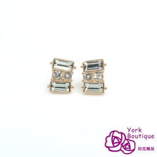 ~約克 ~ 施華洛晶鑽包18K玫瑰金針式耳環^(SGS ^)