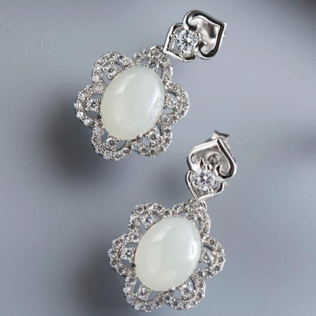 【金玉滿堂】雅緻名媛和闐白玉珠寶耳環
