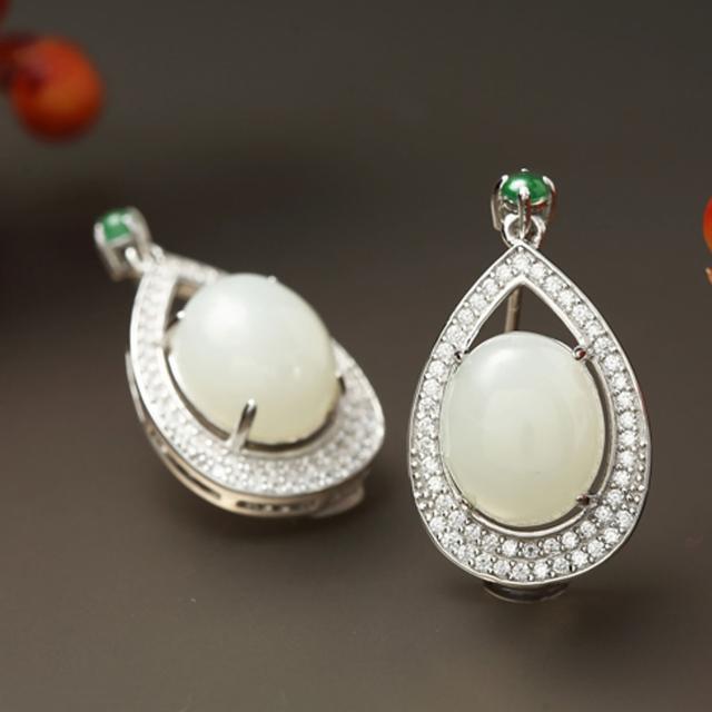 【金玉滿堂】榮華富貴和闐羊脂白玉珠寶耳環