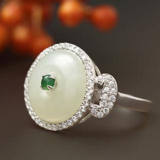 【金玉滿堂】榮華富貴和闐羊脂白玉珠寶戒指