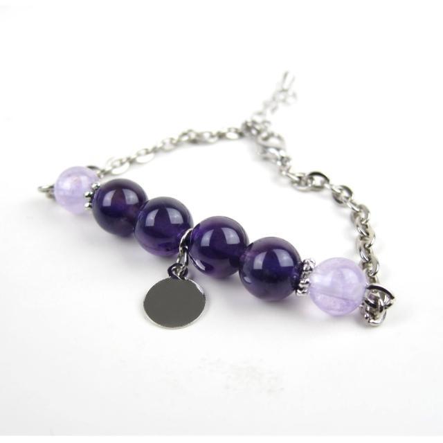 【ZenKi原氣晶品】8mm天然紫晶玉雙色圓片六珠手鍊