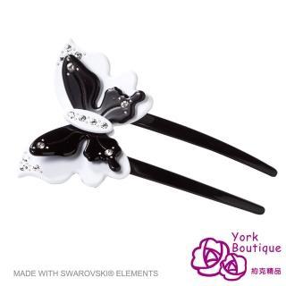 【約克精品】黑色花蝶施華洛元素晶鑽(手工髮插 髮飾)