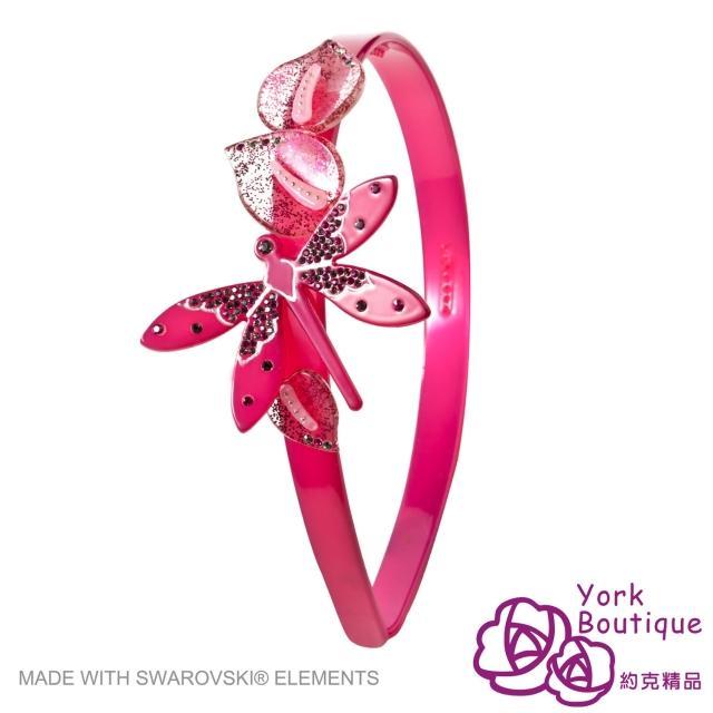 【約克精品】玫瑰色蜻蜓施華洛元素晶鑽(手工髮箍 髮飾)