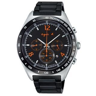 【agnes b】MARSEILLE-經典創作運動風格腕錶(黑-43mm-7T12-0AP0E)