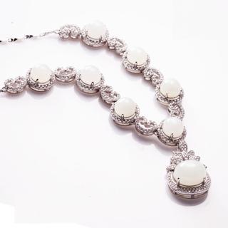 【金玉滿堂】璀璨和闐羊脂白玉珠寶項鍊