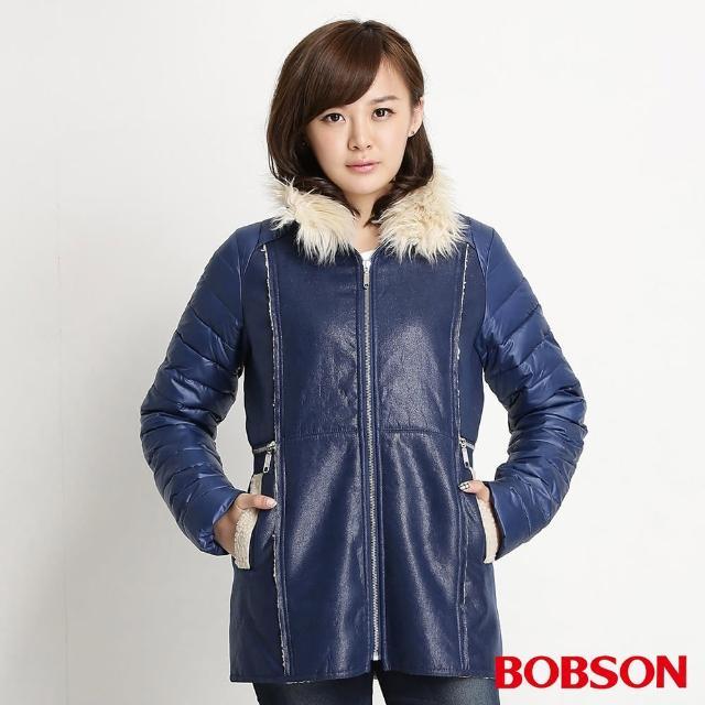【BOBSON】女款麂皮貼合毛絨外套(寶藍34113-54)
