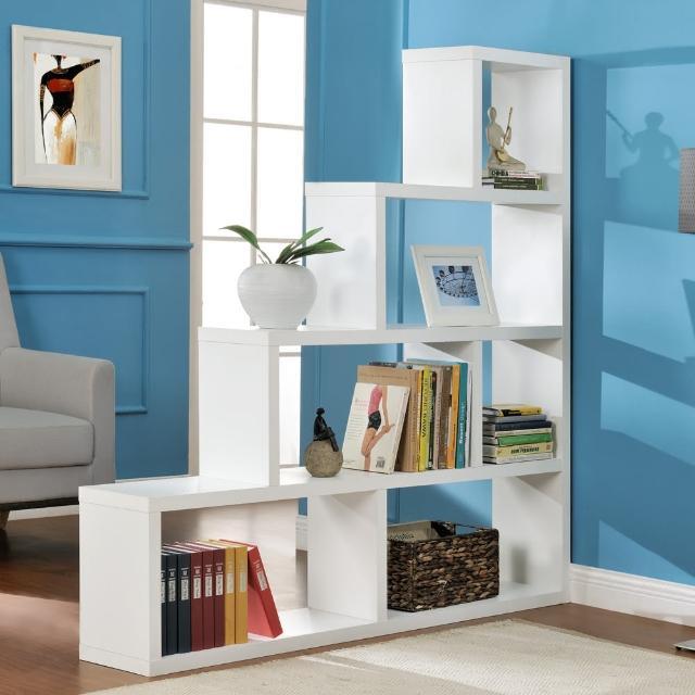 【FUN生活】DIY L型多層展示櫃/書櫃/收納櫃/隔間櫃(白色)