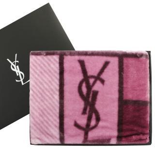 【YSL】經典LOGO拼色雪綿蓋毯禮盒(紫紅色)