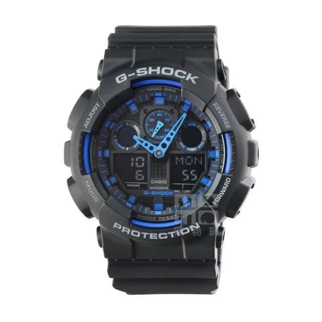 【CASIO】CASIO 卡西歐G-SHOCK 雙顯重機鬧鈴電子錶-黑藍(GA-100-1A2 台灣公司貨)