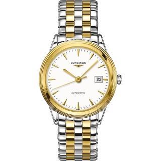【LONGINES】Flagship 優雅旗艦機械腕錶-銀x雙色版/38.5mm(L48743227)