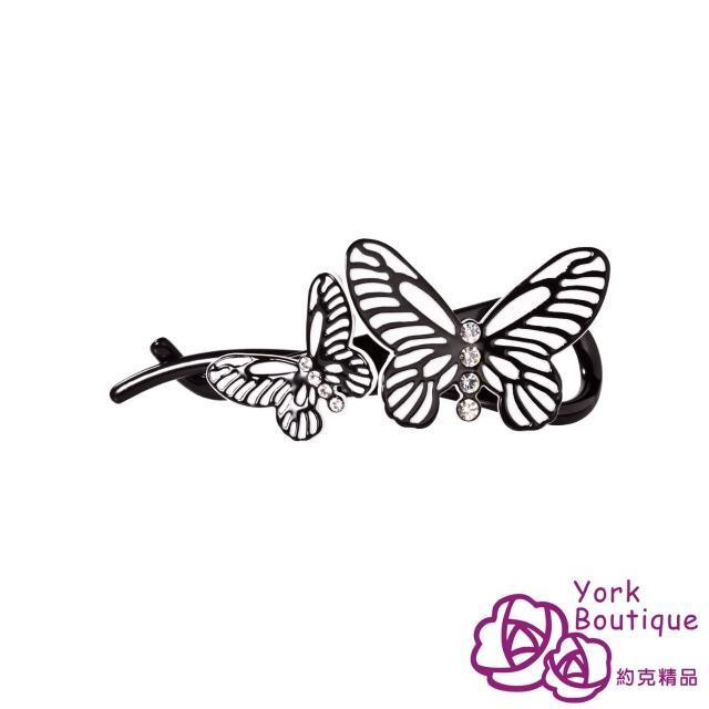 【約克精品】黑色蝶舞施華洛元素晶鑽(手工交叉髮夾 髮飾)