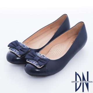 【DN】通勤甜心 拼接羊皮蝴蝶結娃娃鞋(藍)