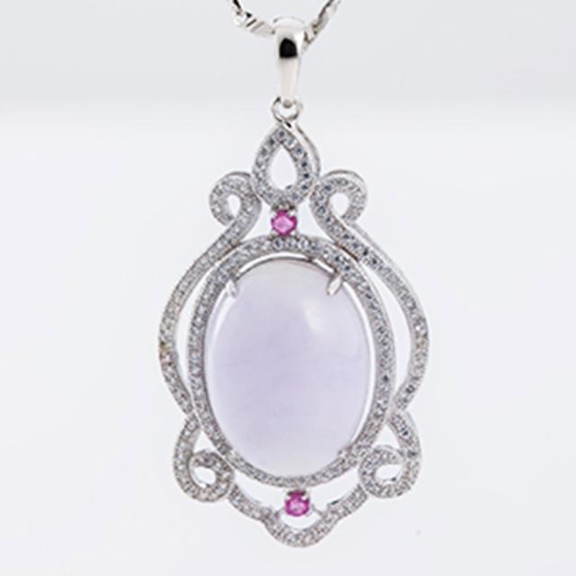 【金玉滿堂】絢麗紫羅蘭春帶翠翡翠墜鍊