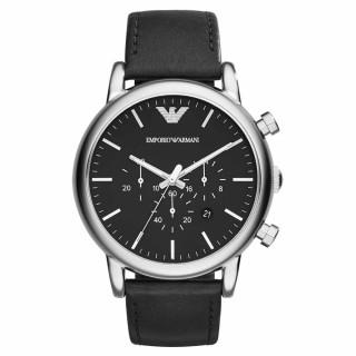 【EMPORIO ARMANI】品味人生真皮計時腕錶-銀x黑(AR1828)