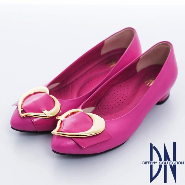 【DN】巴黎時尚 全真皮尖頭拼接金屬飾扣跟鞋(桃)