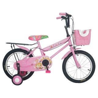 【Adagio】16吋卡布奇諾打氣胎童車附置物籃(粉色)