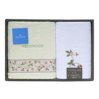 【WEDGWOOD】經典野草苺系列毛方巾二入禮盒(粉綠)