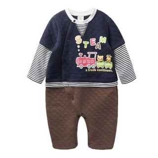 【baby童衣】連身衣 假兩件側開扣空氣棉卡通印花47023(深藍)