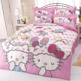 【享夢城堡】HELLO KITTY 我的最愛系列(雙人純棉四件式床包薄被套組)