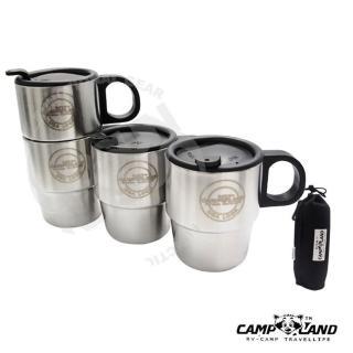 【CAMP-LAND】生活家四入304不鏽鋼組合式雙層斷熱咖啡杯組220cc.斷熱杯.保溫杯(260)
