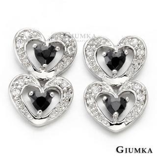 【GIUMKA】甜心圈耳針式鋯石耳環 精鍍正白K 甜美淑女款 一對價格 MF00412-1(銀色黑鋯)