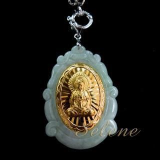 【Selene 珠寶】玉鑲金觀音項鍊(A貨翡翠)