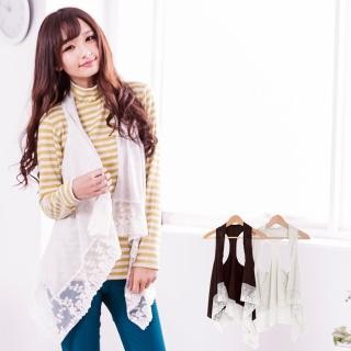【衣心衣意中大尺碼】閃耀亮麗  鉤織亮片短版罩衫小背心(黑-杏SP2A3042)