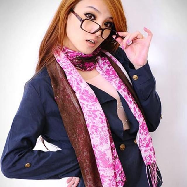 【Lady c.c.】日系風華藤花流蘇圍巾(桃咖)