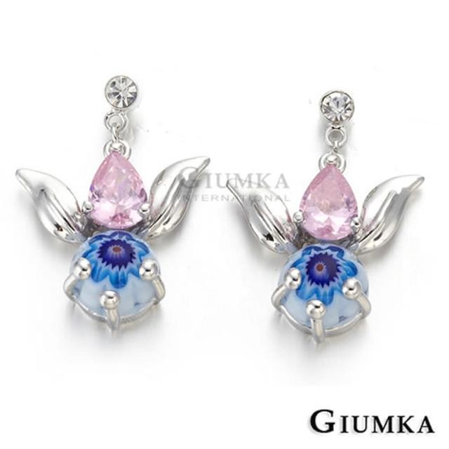 【GIUMKA】金魚貼耳垂墜耳針式耳環 精鍍正白K 甜美淑女款 一對價格 MF00467-3(藍花)