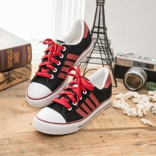 【中國強】MIT 經典休閒帆布鞋CH81(黑紅)