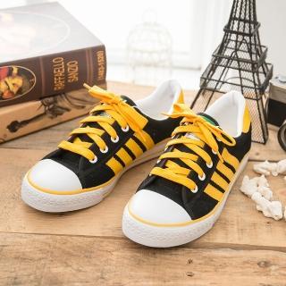 【中國強】MIT 經典休閒帆布鞋CH81(黑黃)