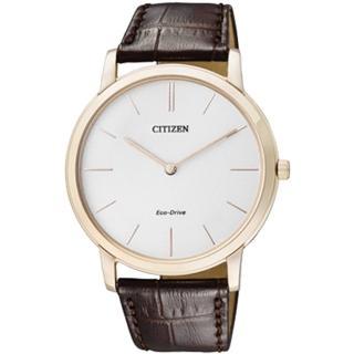 【CITIZEN 星辰】超輕薄光動能皮革藍寶石紳士腕錶(AR1113-12A)