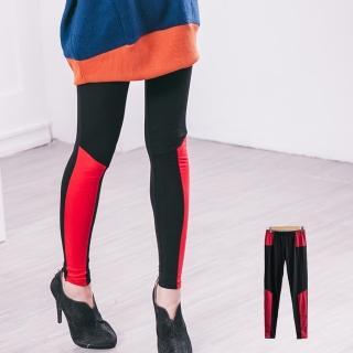 【衣心衣意中大尺碼】流行接色四面彈力內搭褲(黑B8005)