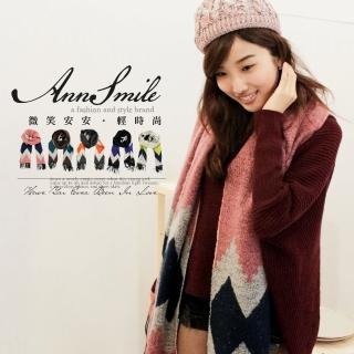 【微笑安安】韓製菱格紋厚毛料感流蘇披肩圍巾(共5色)